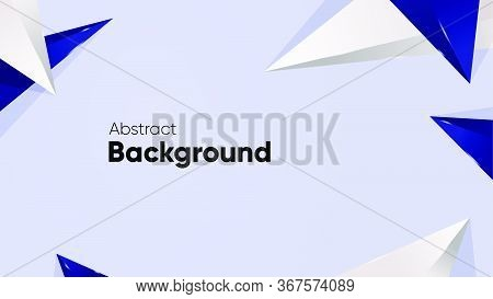 Abstract Aesthetic Background With Blue Navy Triangle Shiny In Grey