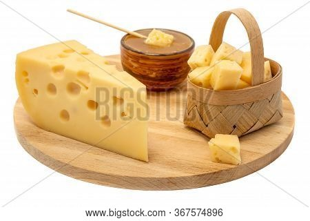 Yellow Maasdam Cheese, Triangular Piece Cheese With Holes, Saucer With Honey, Basket Of Cheese Woode