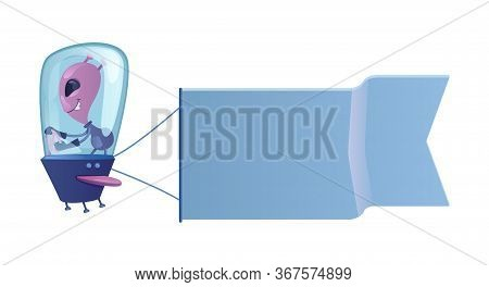 Alien In Flying Saucer Flat Cartoon Vector Illustration. Extraterrestrial With Flag. Ready To Use 2d
