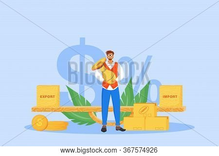 Import And Export Tariffs Flat Concept Vector Illustration. Man Holding Stamp 2d Cartoon Character F