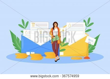Utility Bills Flat Concept Vector Illustration. Adult Woman Paying Taxes 2d Cartoon Character For We