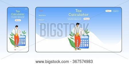 Tax Calculator Adaptive Landing Page Flat Color Vector Template. Bills Payment Mobile And Pc Homepag
