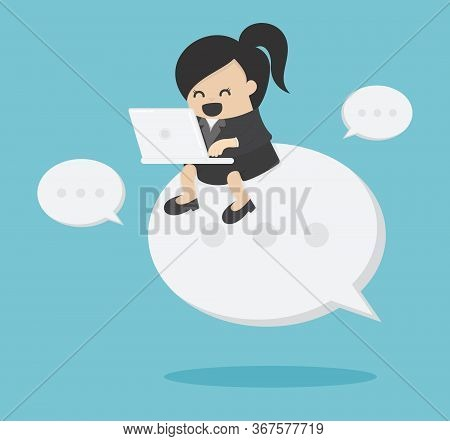 Businesswoman Working On Tablet Sitting Text Symbol Indicating Negotiations