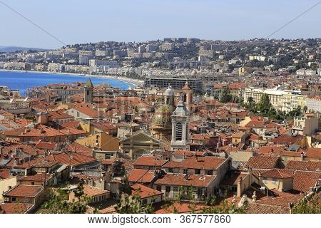 Panorama Of Nice City, Cote D'azur, French Riviera, Mediterranean Sea, France