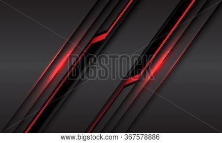 Abstract Red Line Light Black Cyber Slash On Grey Metallic Design Modern Futuristic Technology Backg