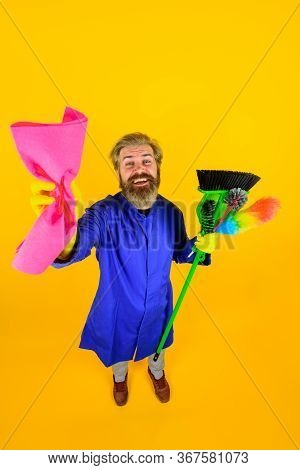 Cleaning Equipment. Bearded Man With Rag. House Cleaning. Broom. Professional Cleaning. Cleaning Ser