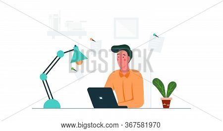 Telecommuting Business Job Man Concept Vector Illustration With Laptop. Computer Technology Remote W