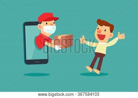 Delivery Man With Medical Mask Come Out From Smart Phone To Delivery Package To A Man At Home. Deliv