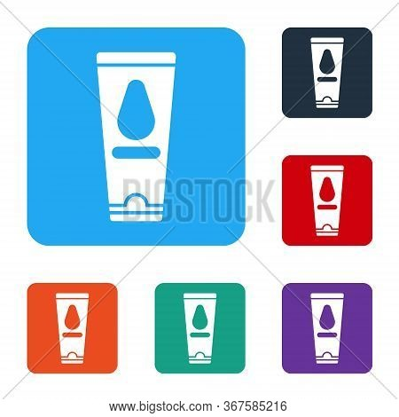 White Personal Lubricant Icon Isolated On White Background. Lubricating Gel. Cream For Erotic Sex Ga