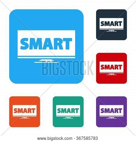 White Screen Tv With Smart Video Technology Icon Isolated On White Background. Set Icons In Color Sq