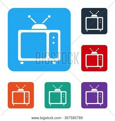 White Retro Tv Icon Isolated On White Background. Television Sign. Set Icons In Color Square Buttons