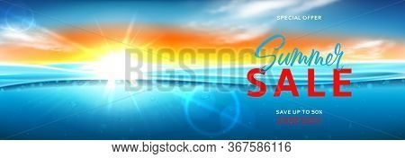 Horizontal Banner For Summer Sale. Vector Illustration With Deep Underwater Ocean Scene. Realistic B
