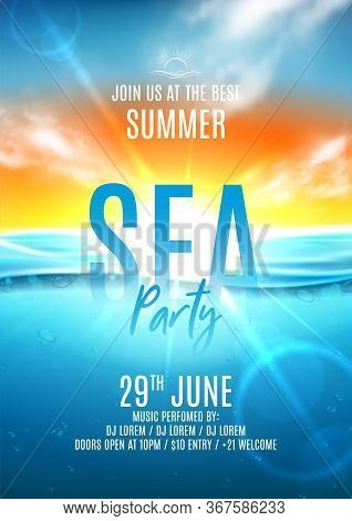 Summer Sea Party Flyer Template. Vector Illustration With Deep Underwater Ocean Scene. Realistic Bac