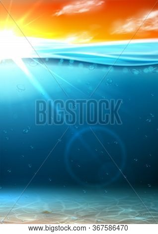 Summer Sea Banner With Sunrise. Vector Illustration With Deep Underwater Ocean Scene With Seashells