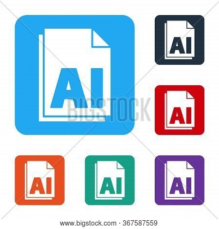 White Ai File Document. Download Ai Button Icon Isolated On White Background. Ai File Symbol. Set Ic