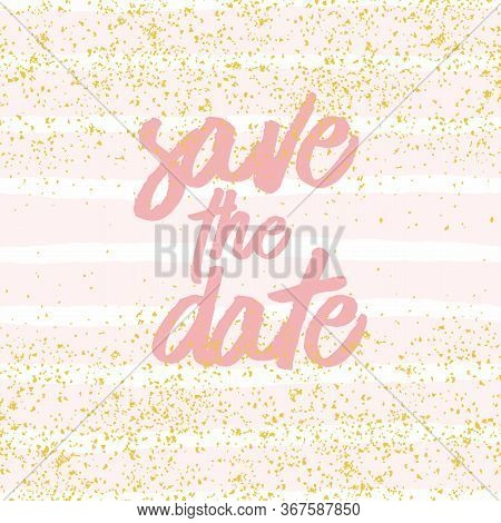 Save The Date Vector Card With Pastel White And Pink Background