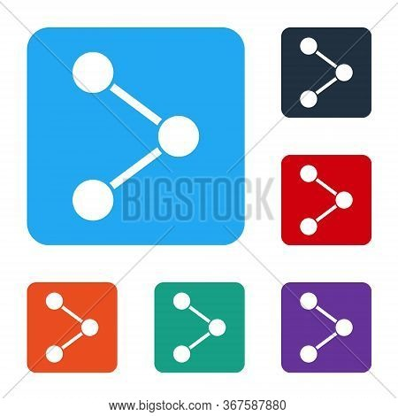 White Share Icon Isolated On White Background. Share, Sharing, Communication Pictogram, Social Media