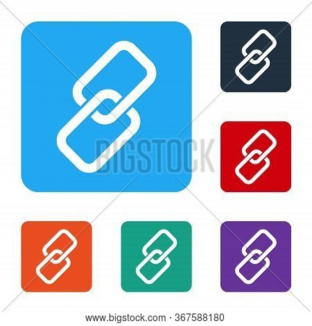 White Chain Link Icon Isolated On White Background. Link Single. Set Icons In Color Square Buttons.