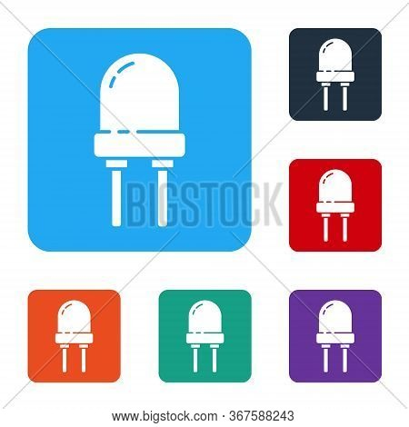 White Light Emitting Diode Icon Isolated On White Background. Semiconductor Diode Electrical Compone