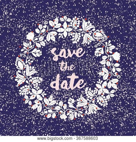 Tile Save The Date Vector Card With Floral Wreath And Pink Glitter On Dark Blue Background