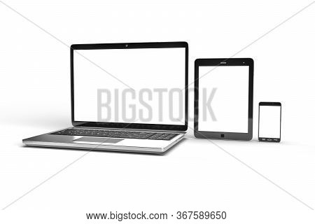 3d Illustration Of Notebook, Tablet And Phone. Isolated On White. 3d Render.