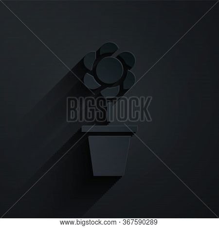 Paper Cut Flower In Pot Icon Isolated On Black Background. Plant Growing In A Pot. Potted Plant Sign