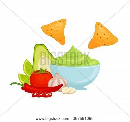 Guacamole With Ingredients. A Popular Mexican Dish. Vector.