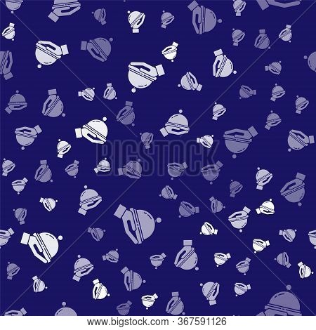 White Covered With A Tray Of Food Icon Isolated Seamless Pattern On Blue Background. Tray And Lid Si
