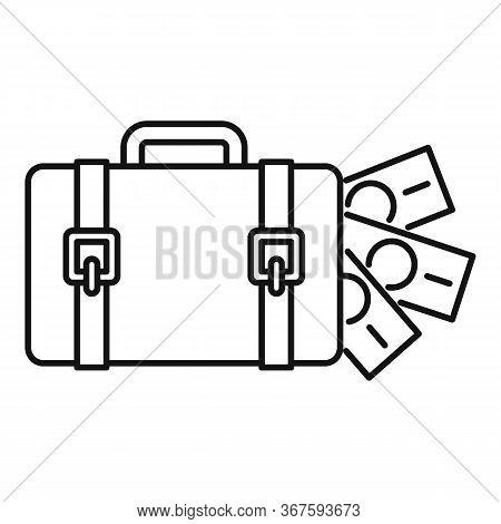 Money Bag Washing Icon. Outline Money Bag Washing Vector Icon For Web Design Isolated On White Backg