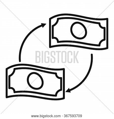 Convert Wash Money Icon. Outline Convert Wash Money Vector Icon For Web Design Isolated On White Bac
