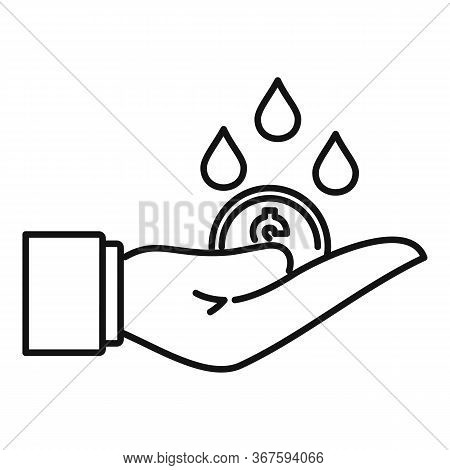 Rich Hand Money Wash Icon. Outline Rich Hand Money Wash Vector Icon For Web Design Isolated On White
