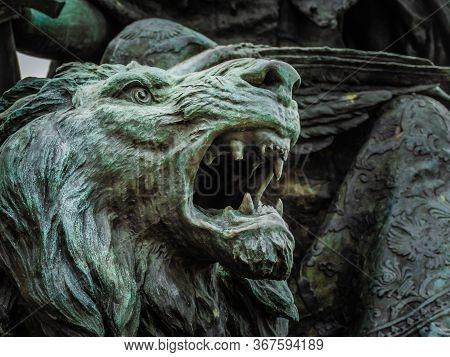 Roaring Lion Head Detail Of Monumento A Vittorio Emanuele Ii, Venice, Italy