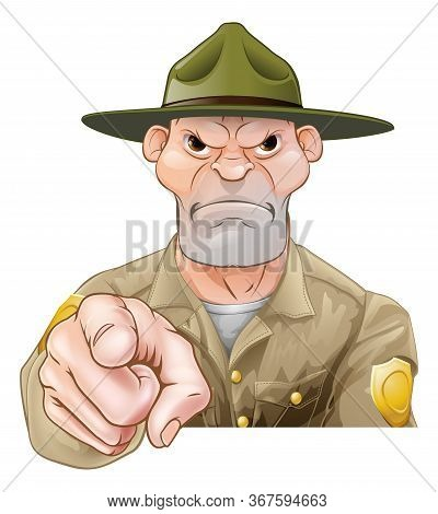 Park Ranger Or Forest Ranger Cartoon Character Pointing