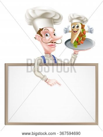 An Illustration Of A Cartoon Chef Pointing At Kebab Sign