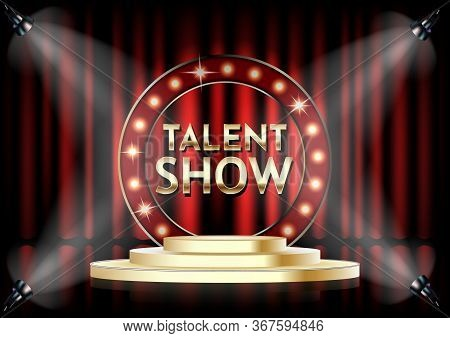 Talent Show Vector Poster Template. Empty Theatrical Stage With Talent Show Signage With Lights On R