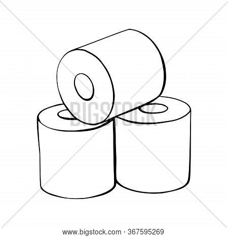 Toilet Paper Rolls. A Roll Of Toilet Paper In The Doodle Style.hand-drawn Toilet Paper.vector Illust