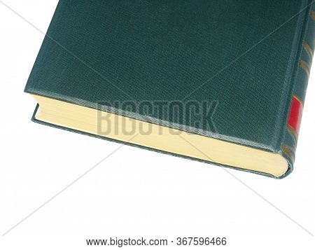 Old Green Hardcover Book With Red Tooling On The Spine In A Close Up End View Isolated On White With