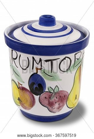 Decorated Hand Painted Pottery Rumtopf, Or Rum Pot, With Lid For A Traditional Christmas German Dess