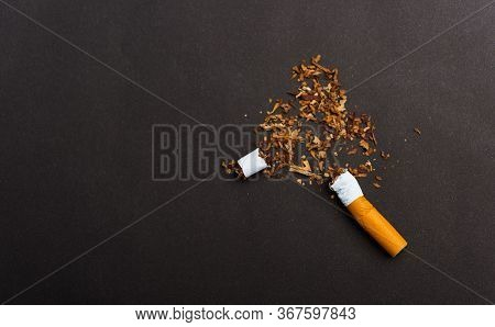 31 May Of World No Tobacco Day, No Smoking, Close Up Of Broken Pile Cigarette Or Tobacco Stop Symbol