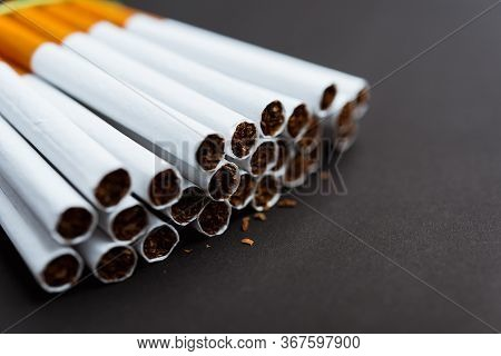 31 May Of World No Tobacco Day, Close Up Front Stack Pile Cigarette Or Tobacco On Black Background W