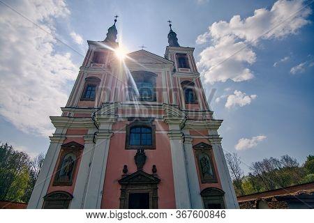 Baroque Church Of Saint Anne And Saint James The Greater In Stara Voda - Czech Republic. Sunbeams Ov
