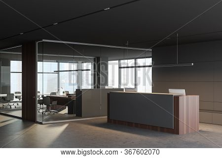 Corner Of Panoramic Office Hall With Gray And Glass Walls, Comfortable Reception Desk And Meeting Ro