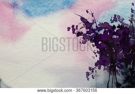 Watercolor Landscape. Watercolor Color Texture Background. Watercolor Abstraction. Pink Purple Blue