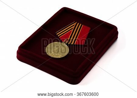Medal Award Commemorative In The Case Isolated