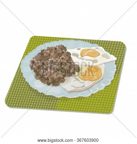 Plate With A Serving Of Fried Eggs And Buckwheat Porridge On A Serving Napkin.
