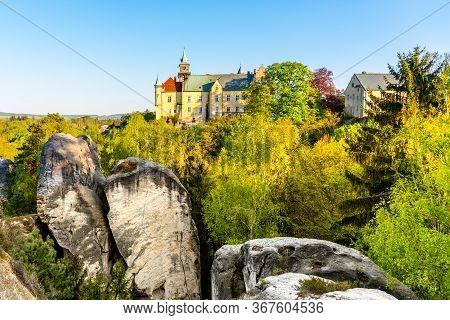 Hruba Skala Castle Built On The Top Of Sandstone Rocks. Bohemian Paradise, Czech: Cesky Raj, Czech R