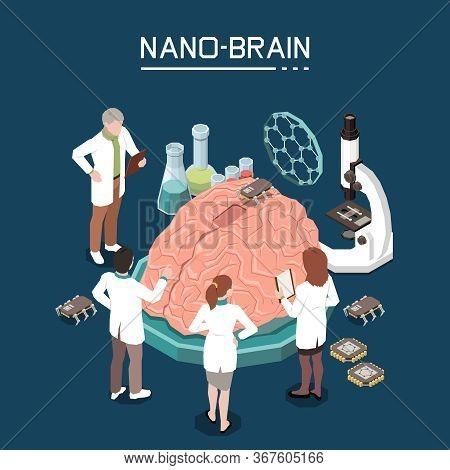 Nano Bio Technology Isometric Composition With Scientific Laboratory Staff Using Nano-materials For
