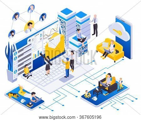 Remotely Working At Home Employees  Management Isometric Composition With Secure Data Storage Access
