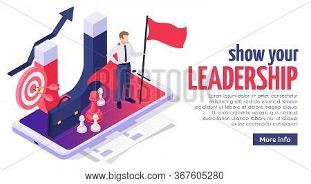 Effective Leadership Soft Skills Concept Isometric Web Page Design With Successful Businessman On Sm