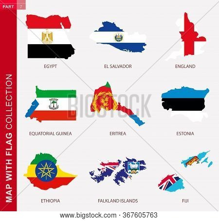 Map With Flag Collection, Nine Map Contour With Flag Of Egypt, El Salvador, England, Equatorial Guin